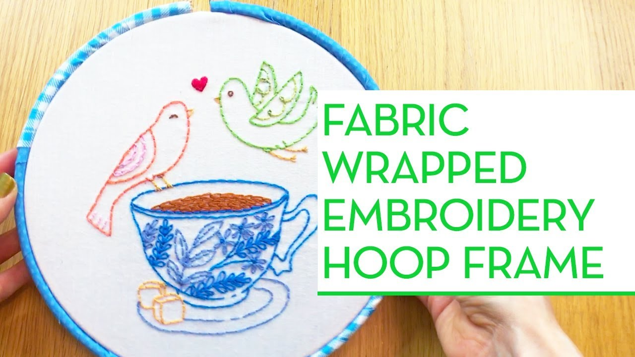 Fabric Wrapped Embroidery Hoop Frame - Penguin & Fish Embroidery ...