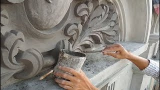 Cement Artwork Decorating House In Roman Style