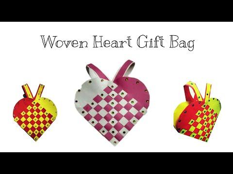 Woven Paper Heart gift Bag  Gift Bag for Christmas Tree Decoration  Diwali Gift Bag  DIY-Gift Bag