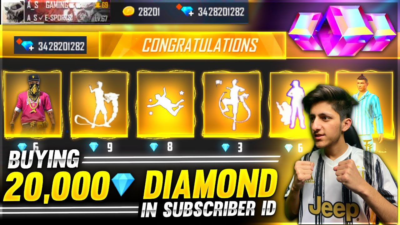 Buying 20,000 Diamonds & Dj Alok All New Emote From Store In Subscriber Id - Garena Free Fire