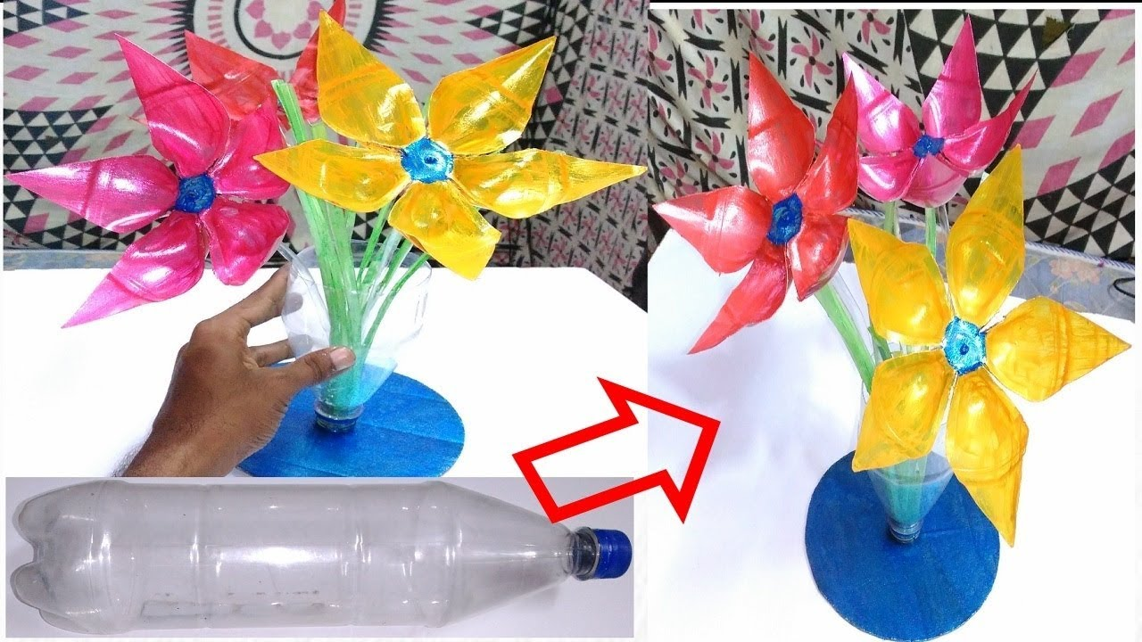 Use plastic bottle flower art from waste plastic water for Useful things from waste bottles