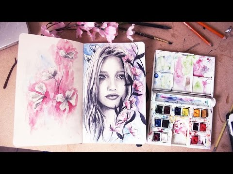 Portrait Drawing With Charcoal and Watercolor, My Art Phases | Sketchbook Sunday Episode 2