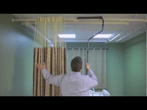 The On The Right Track cubicle curtain and Grabber