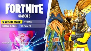 *NEW* SEASON 5 MAX TIER BATTLE PASS SKINS REVEALED! (Fortnite Season 5: Worlds Collide Theme)