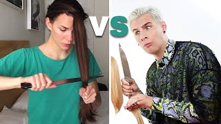 pro hairdresser follows a diy haircut tutorial