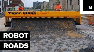 Robot prints paved roads