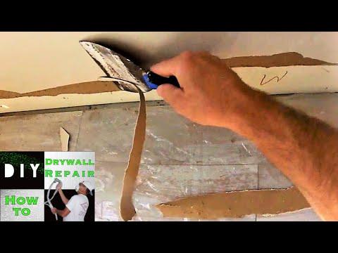 How to repair damaged drywall paper- Torn drywall and Blistered drywall brown paper repair Quick tip