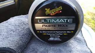 Meguiar's ultimate paste wax demo review on black clear coat paint job wow