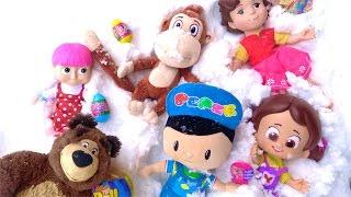 Pepee ve Niloya karda sürpriz yumurta arıyor - Heidi Maşa ile Koca ayı karda sürpriz oyuncak buluyor