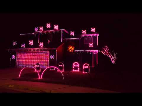 Chris Davis - Very Cool 'Stranger Things' Themed Halloween Light Show!