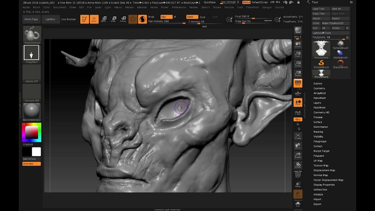 ZBrush 2018 Making eyes in Sculptris Pro