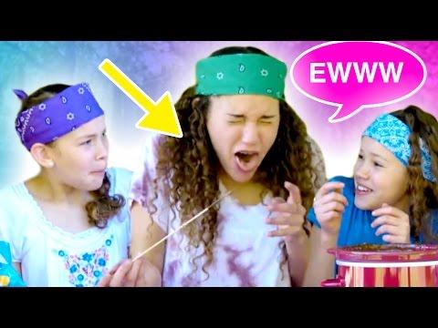 Gracie Eats A GROSS BUG!? Chocolate Fondue Challenge! (Haschak Sisters)