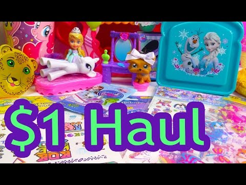 Disney Frozen Queen Elsa Olaf $1 Dollar Tree Toy Haul Barbie Doll My Little Pony Stickers LPS Video