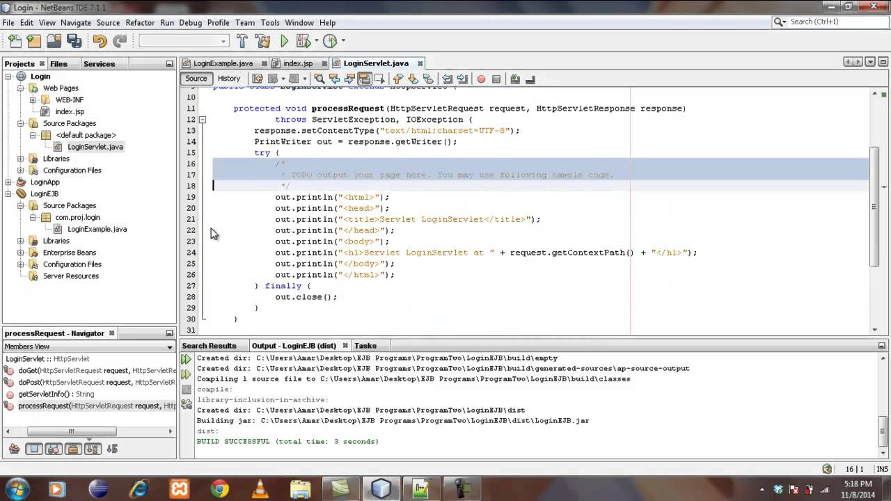 Creating Login Application Using EJB
