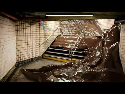 Chocolate floods the metro - Blender animation - Flip fluids simulation