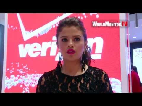 Selena Gomez interviewed at Verizon Wireless unveils Innovative Destination Store