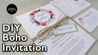 How to make a rustic / boho floral wreath wedding invitation| DIY invitations