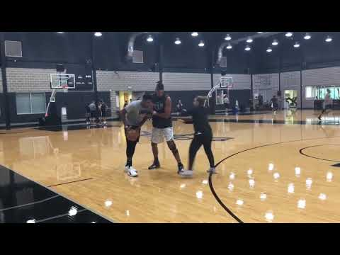 Coach Tim Duncan Working With Rudy Gay, Becky Hammon At Spurs Practice