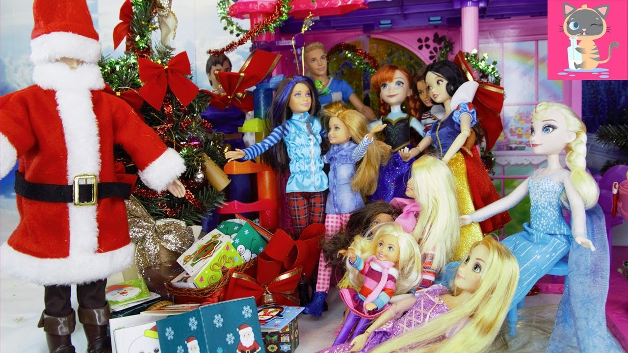 Disney Frozen Slaapkamer : Frozen anna elsa have a christmas party barbie ken stacie chelsea