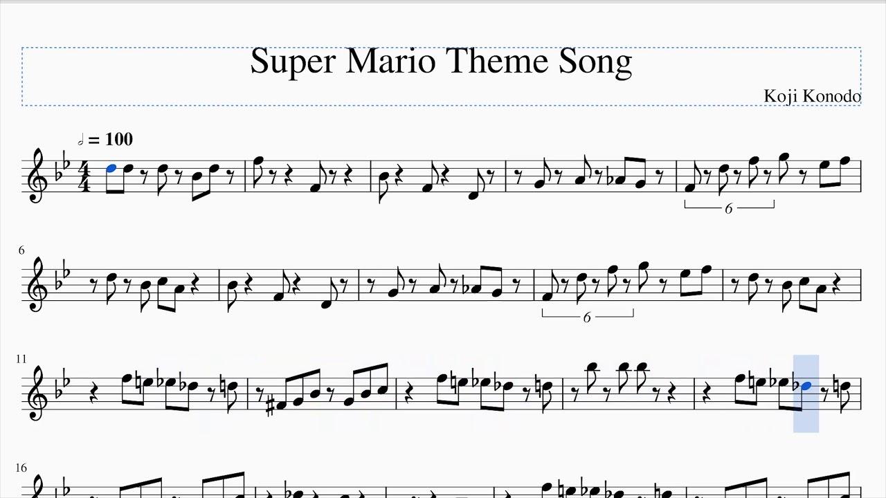 Super Mario Theme Song Sheet Music