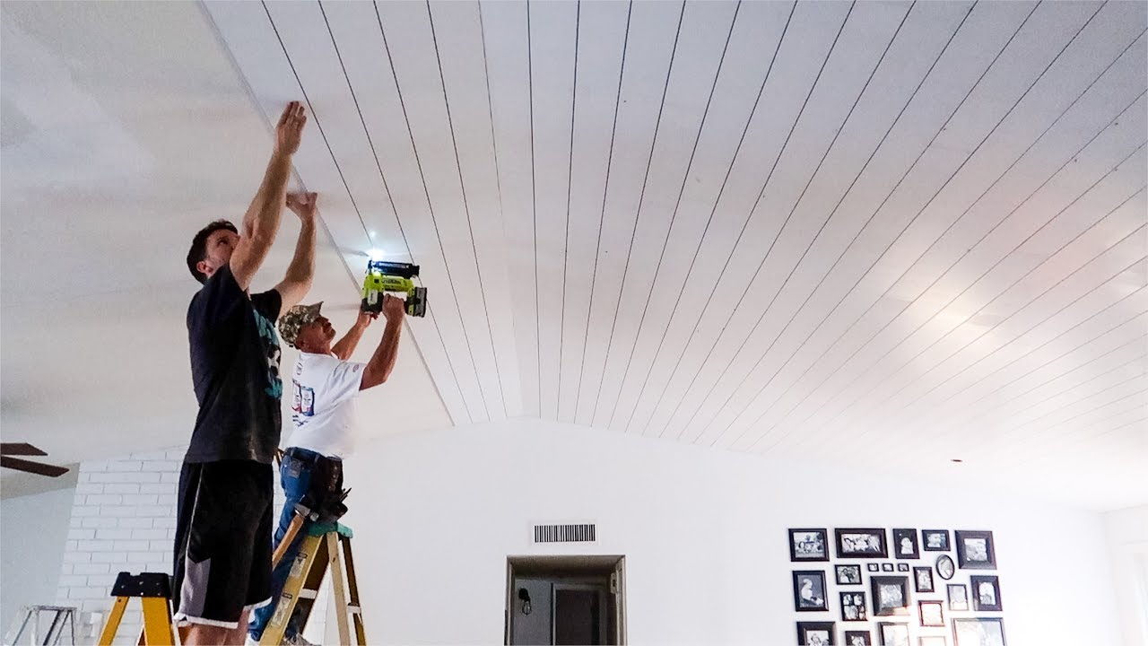 It was all HIS idea   Shiplap on the Ceiling!