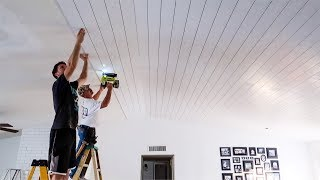 It was all HIS idea...Shiplap on the Ceiling!