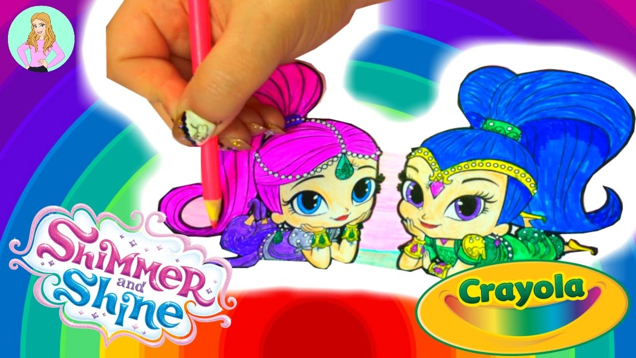 COLORING Book Pages Nick Jr SHIMMER SHINE With Crayola Markers And Crayons