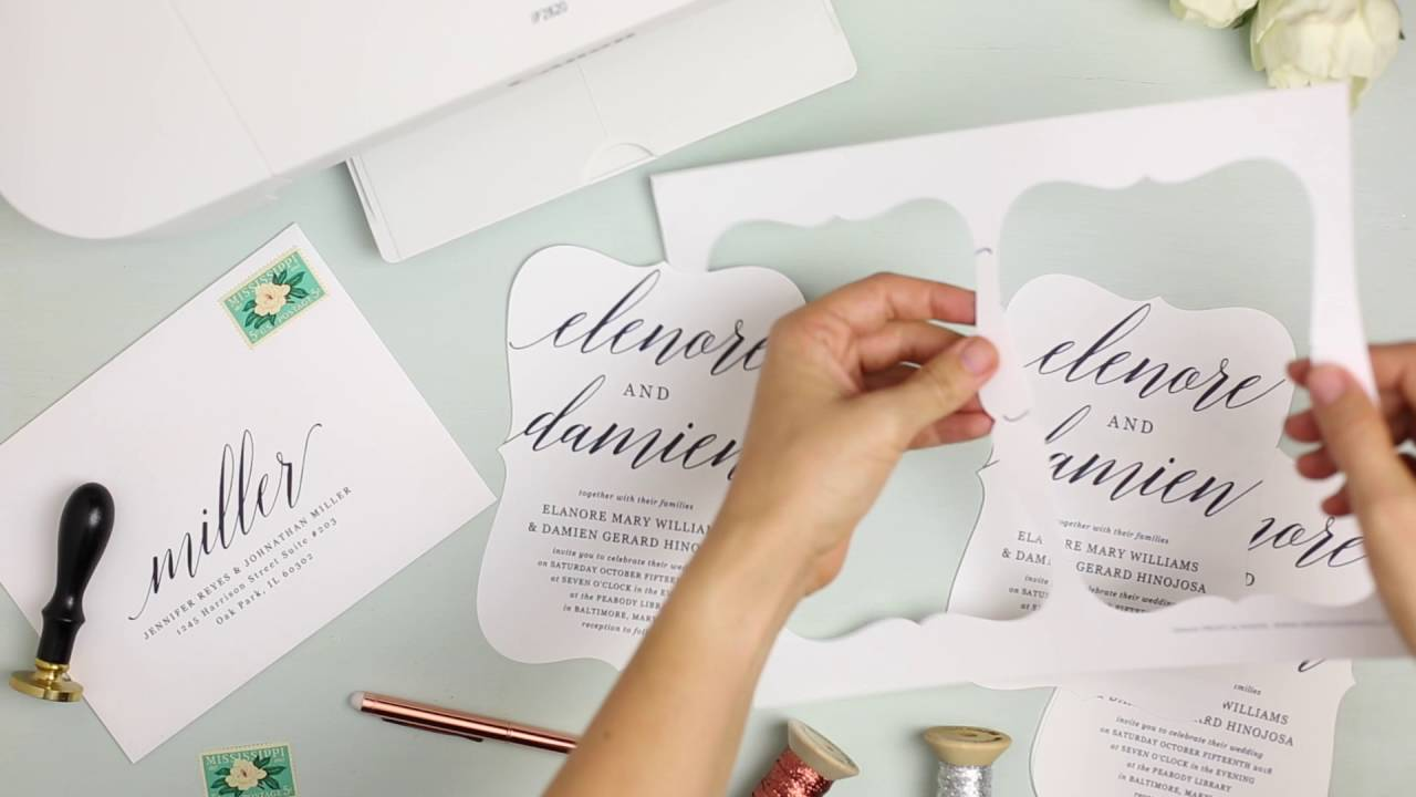 how to print your own wedding invitations at home with everly card stock youtube - How To Print Your Own Wedding Invitations