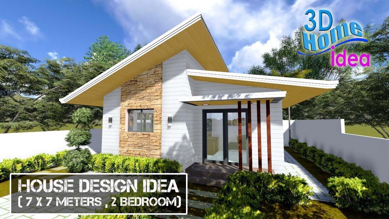House Design Idea (7x7 meters, 2 Bedroom)