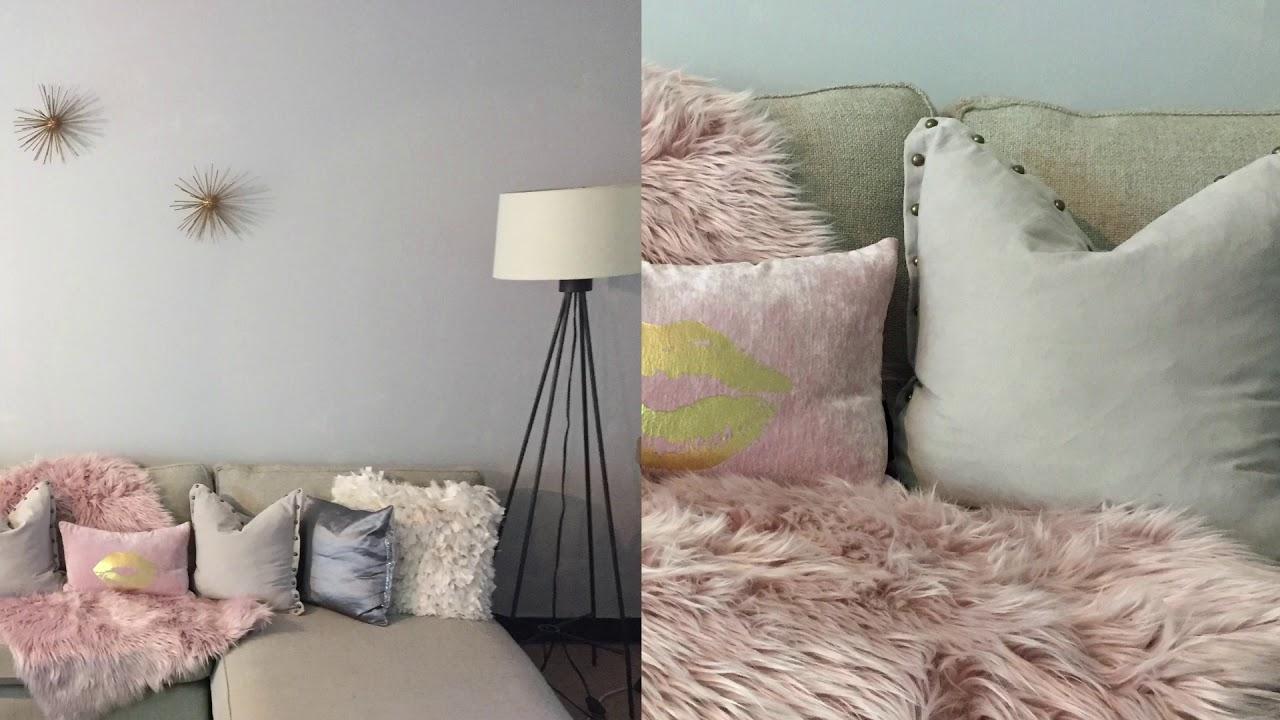 Hues Of Grey And Blush Living Room Decor