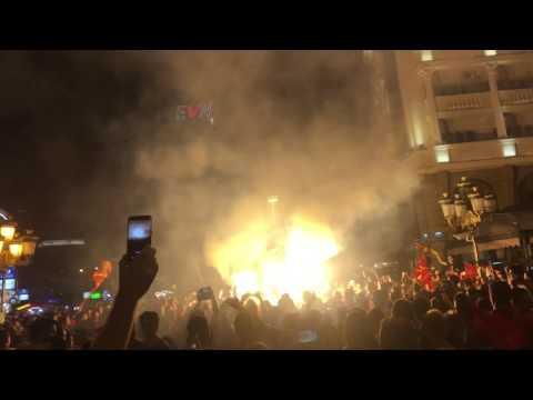 Vardar fans celebrate in the center of Skopje