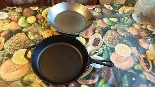 Стальная сковорода Matfer black steel 28 см и Чугунная сковорода Lodge 10 1/4 (26 см) L8SK3