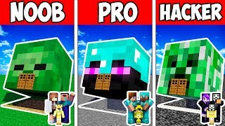 Minecraft Noob Vs Pro Vs Hacker  Family Monster Head Block House In Minecraft  Animation