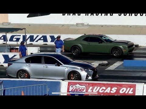 Supercharged Lexus GSF vs Hellcat - Drag Race