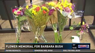 Flower memorial honoring former First Lady Barbara Bush moved