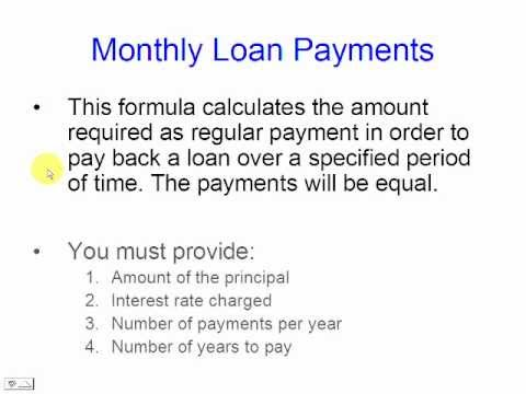 Calculate Monthly Loan Payments - YouTube