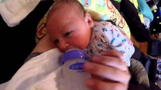 FIRST TIME WITH A BOTTLE - BABY THEO, DADDY, and a GOPRO (21 of ?)