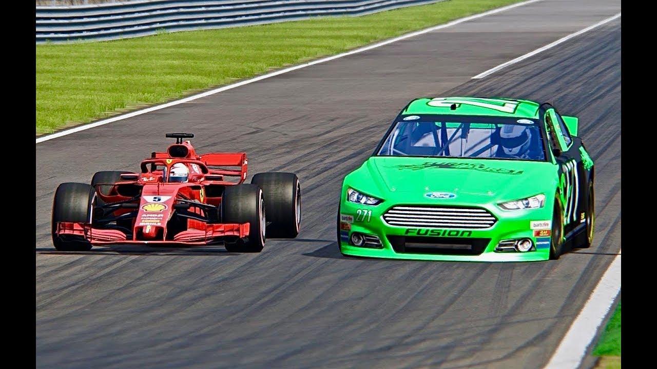 Ferrari F1 2018 Vs Nascar Ford Monza Youtube