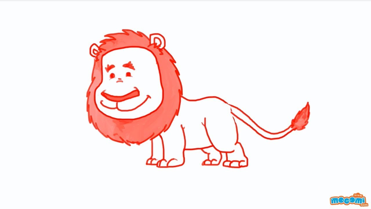 How to Draw a Lion - Step By Step Drawing for Kids | Educational Videos by Mocomi