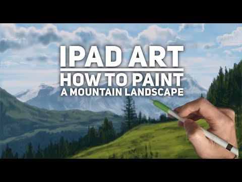 Ipad painting tutorial - HOW TO PAINT A MOUNTAIN LANDSCAPE -