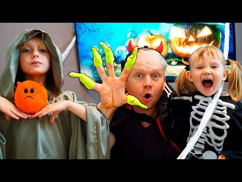 Margo and Nastya Pretend Play Halloween Trick or Treat Candy Haul