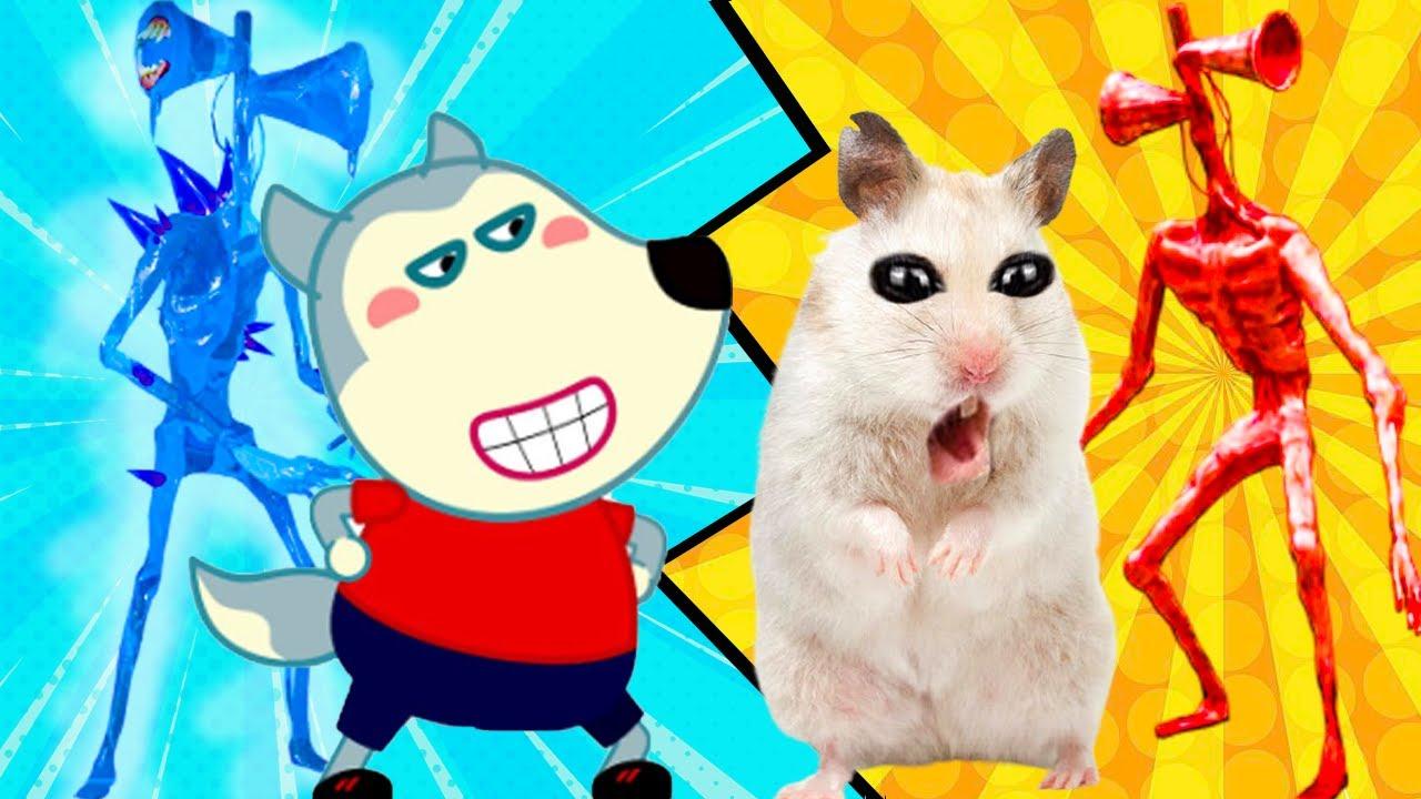 Fire Siren Head vs Ice Siren Head vs Cute Hamster vs Wolfoo Family Stories