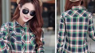 Women Winter Keep Warm Cotton Plaid Blouse Fashion shirt