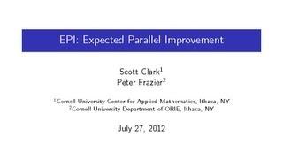 DOE CSGF 2012: EPI: Expected Parallel Improvement