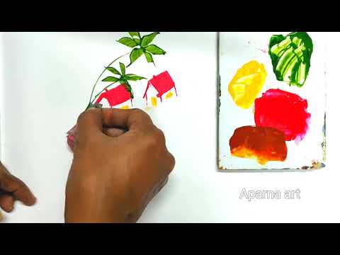 Beautiful Landscape Painting With Blade | Learn Amazing Blade Painting From Aparna
