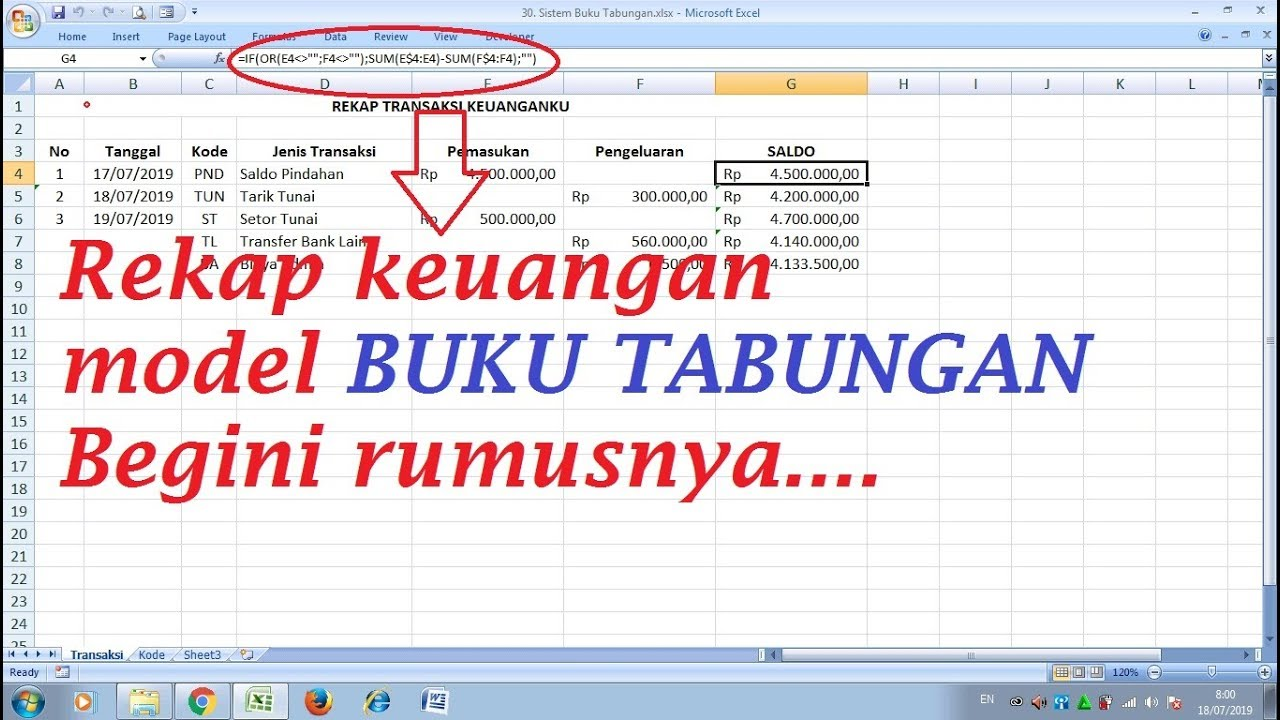 Cara Buat Rekap Keuangan Model Buku Tabungan Rumus Buku Tabungan Excel Youtube