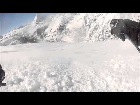 Out skiing an avalanche in Zermatt Switzerland