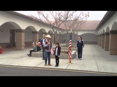 Sarah leads the Pledge of Allegiance at Oso Grande Elementary School, Ladera Ranch, CA