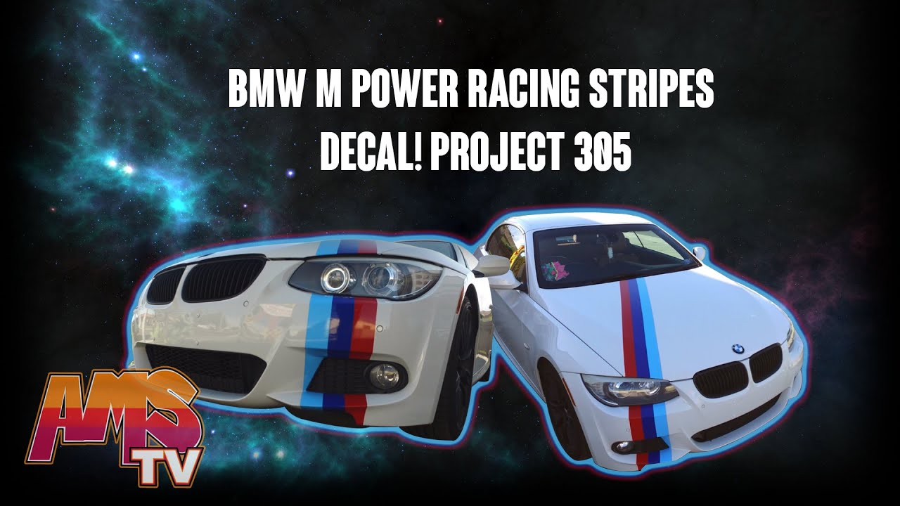 BMW M POWER RACING STRIPES DECAL PROJECT YouTube - Bmw racing stripes decals
