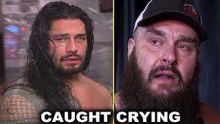 10 WWE Superstars Caught Crying Backstage Emotional Moments - Roman Reigns, Braun Strowman & More